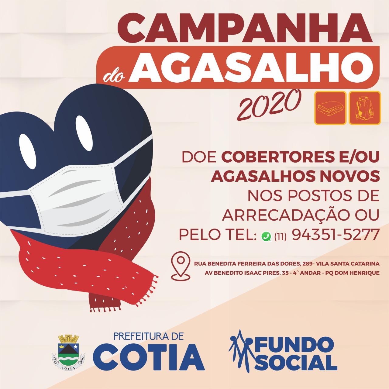 Adequado às condutas devido à pandemia, Fundo Social arrecada roupas e cobertores novos para a Campanha do Agasalho